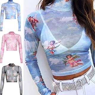 Tickas See-through,Women Transparent Mesh Top Crop T-shirt Elastic Angel Print Turtleneck Long Sleeve Party Club