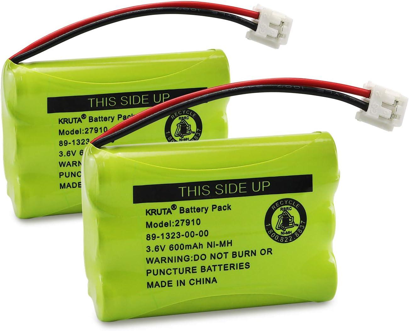 27910 Cordless Telephone Battery Compatible with AT&T 89-1323-00-0 Motorola SD-7501 RadioShack 23-959 23-894 Ni-MH 3.6V(Pack 2)