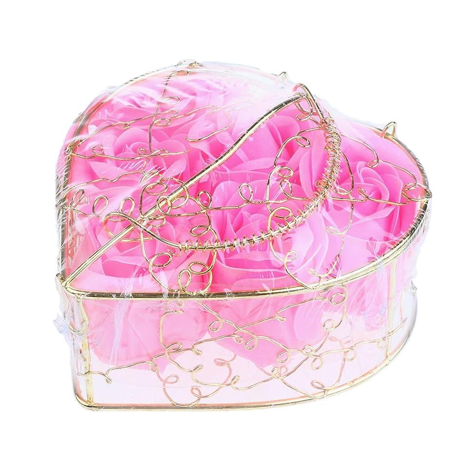 Perfk 6個 石鹸の花 石鹸花  造花 フラワー バラ ソープフラワー  シャボンフラワー  フラワーボックス プレゼント 全5タイプ選べる - ピンク