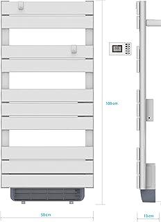 Toallero de barra redonda seca, calentador – 500 W + soplador 1000 W – programable – blanco