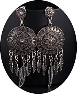 Perfect Choice Dream Catcher Hollow Out Vintage Leaf Feather Dangle Earrings for Women