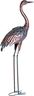 Kircust Garden Statues and Sculptures Metal Heron Decoy, Standing Patina Crane Yard Art for Outdoor Patio Lawn Decoration, 48-Inch High (1PC)