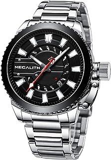 MEGALITH Reloj Hombre Acero Inoxidable Relojes Elegante Hombre Analogico Impermeable Reloj de Pulsera Esfera Grande Cuarzo...