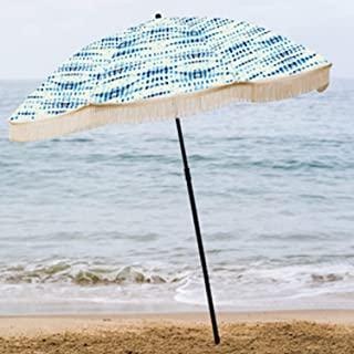 beachBRELLA Beach Umbrella, with Fringe and Shoulder Strap Bag, 100% UV Sun Protection, Lightweight, Portable & Easy to Setup in The Sand and Secure in The Wind (Seaview)