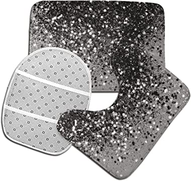Silver Gray Glitter Shiny Toilet Bathmats Carpet Memory Foam Non-Slip Bath Rugs Toilet Seat Cover Lid Pedestal Rug Lid Toilet