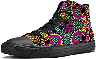 MAPOLO Canvas Shoes Square Mandala Pattern Women's Print High Top Canvas Shoes for Women Fashion Sneakers Comfortable Walk...