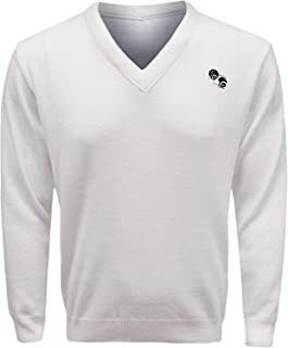 Guv'nors Men Bowling Jumper Knitted V Neck Top White Jumper Sweater Top Bowls Logo On The Front