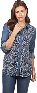 Jeans Women's Floral Print Denim Button Down Shirt