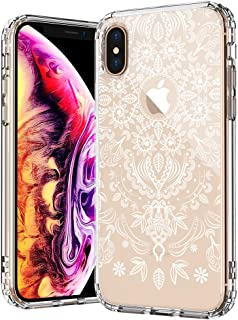 MOSNOVO iPhone Xs MAX Case, White Henna Flower Mandala Lace Pattern Printed Clear Design Transparent Plastic Back Phone Case with TPU Bumper Protective Case Cover for iPhone Xs MAX