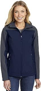 Port Authority Ladies Hooded Core Soft Shell Jacket. L335, Dress Blue Navy/Battleship Grey, 2XL