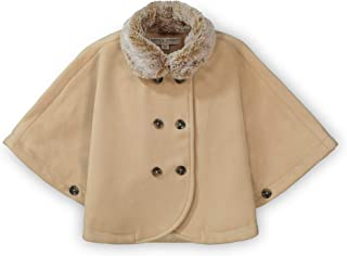 Girls' Button Front Cape with Faux Fur Collar