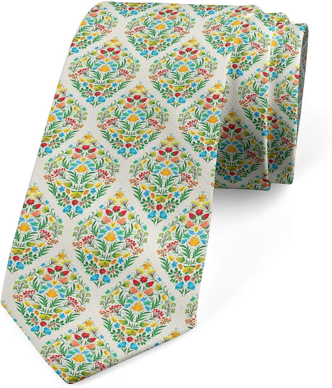 Lunarable Necktie, Floral Hippie Natural, Dress Tie, 3.7