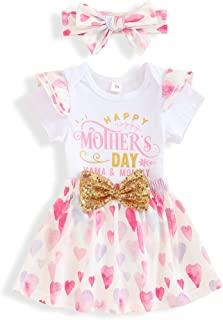 Happy 1st Mother's Day Clothes Newborn Baby Girls Romper+Skirt+Headband Outfits Set