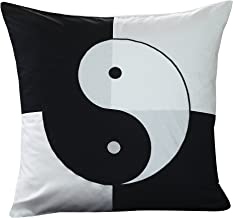 Black and white pillow slip Euro sham cover, oversized pillowcase 26x26. Asian inspired fashionable decorative design with an embroidered bold Ying Yang symbol graphic on pillowcase