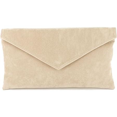 Loni Neat Umschlag Faux Wildleder Clutch Bag/Schultertasche In Nude Beige