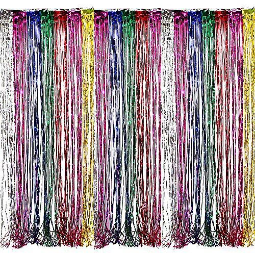 Adorox - Cortinas metálicas con flecos, color plateado y dorado, diseño de arcoíris, para fiestas, bodas, eventos, decoración (arcoíris metálico)