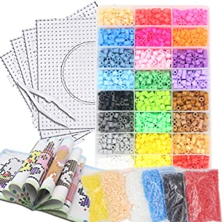 H&W 10000pcs 24 Colors 5mm Fuse Bead Kits for Kids【Upgrade Version】, Add Color Number & Supply Refill Bag, 1:1 Bead Idea Book, 6 Colors Refill Bag, 2 Tweezers, 4 PegBoards, 5 Ironing Paper, Parts