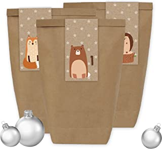 Papierdrachen Advent Calendar Mini Set with 24 Number Stickers and Paper Bags - DIY Set - for Making and Filling - Stickers No 34