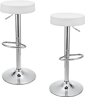 [en.casa]®] Juego de 2 taburetes de Bar Redondos - Blanco (Regulable en Altura - Ajustable) - Piel sintética PU