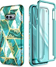SURITCH Case for Galaxy S10e,[Built-in Screen Protector] Gold Mandala Green Floral Full Body Protection Shockproof Rugged ...