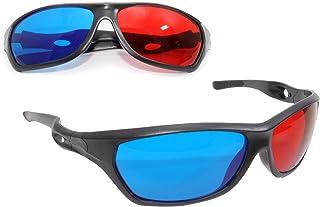 Ganzoo 3D-glasögon, sportiga 3D-anaglyfglasögon för TV eller PC-spel (röd/blå), tv-apparater, 3D-glasögon med anaglyftekni...