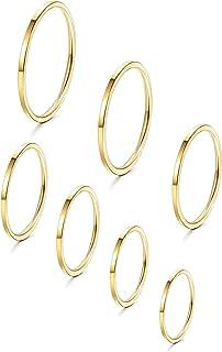 YADOCA 7 Pezzi Acciaio Inossidabile Anelli Impilabili per Donne Ragazze 1MM Sottile Knuckle Ring Midi Band Misura Adatta 3-9
