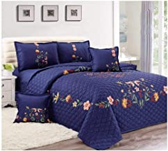 Floral Compressed 4Pcs Comforter Set By Moon, Single Size, Px-005, Blue, Microfiber