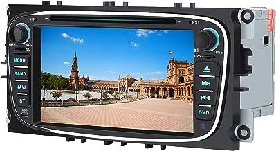 AWESAFE Radio Coche 7 Pulgadas para Ford con Pantalla Táctil 2 DIN, Autoradio de Ford con Bluetooth/GPS/FM/RDS/CD DVD/USB/SD, Admite Mandos Volante, Mirrorlink y Aparcacimiento (Negra)