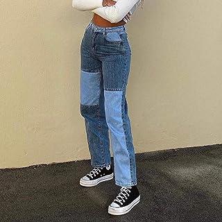 Jeans Patchwork Jeans Pierna Recta Jeans De Mujer Pantalones Sueltos De Cintura Alta Jeans Denim Distressed Street