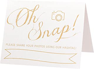 Oh Snap Wedding Hashtag Sign | Set of 5 Pearl White and Gold Wedding Signs | 4x5 Folded Double Sided On Heavy Cardstock With Pearlescent Finish | White and Gold Wedding Decorations