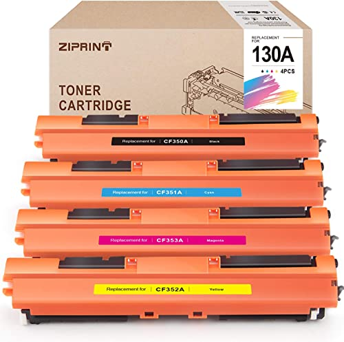 popular ZIPRINT Compatible online sale Toner outlet sale Cartridge Replacement for HP 130A CF350A CF351A CF352A CF353A for Color Laserjet Pro MFP M176 M176FN M177 M177FW (Black, Cyan, Magenta, Yellow, 4-Pack) sale