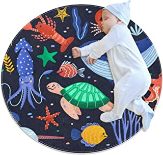 Soft Round Area Rug 70x70cm/27.6x27.6IN Anti-Slip Floor Circle Mats Absorbent Memory Sponge Standing Mat,Fishes