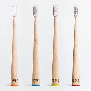 MABLE Bamboo Toothbrush, Anti bacterial, Self Standing, Non Toxic Medium Bristles