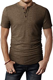 Mens Casual Premium Slim Fit Henley T-Shirts Short Sleeve of Various Styles