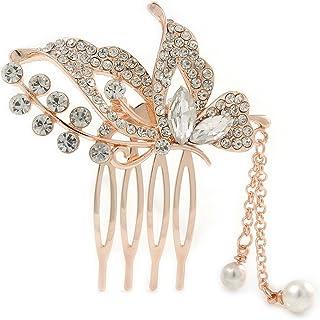 新娘/婚礼/舞会/派对玫瑰金色透明奥地利水晶蝴蝶带悬挂侧发梳 - 55mm