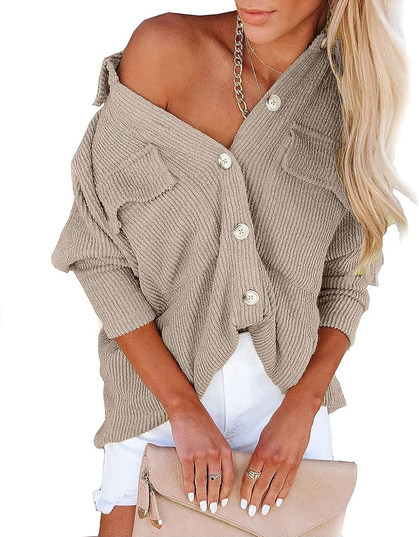 NUOREEL Womens Casual Corduroy Shirts Button Down Shirts Long Sleeve Cuffed Shirts