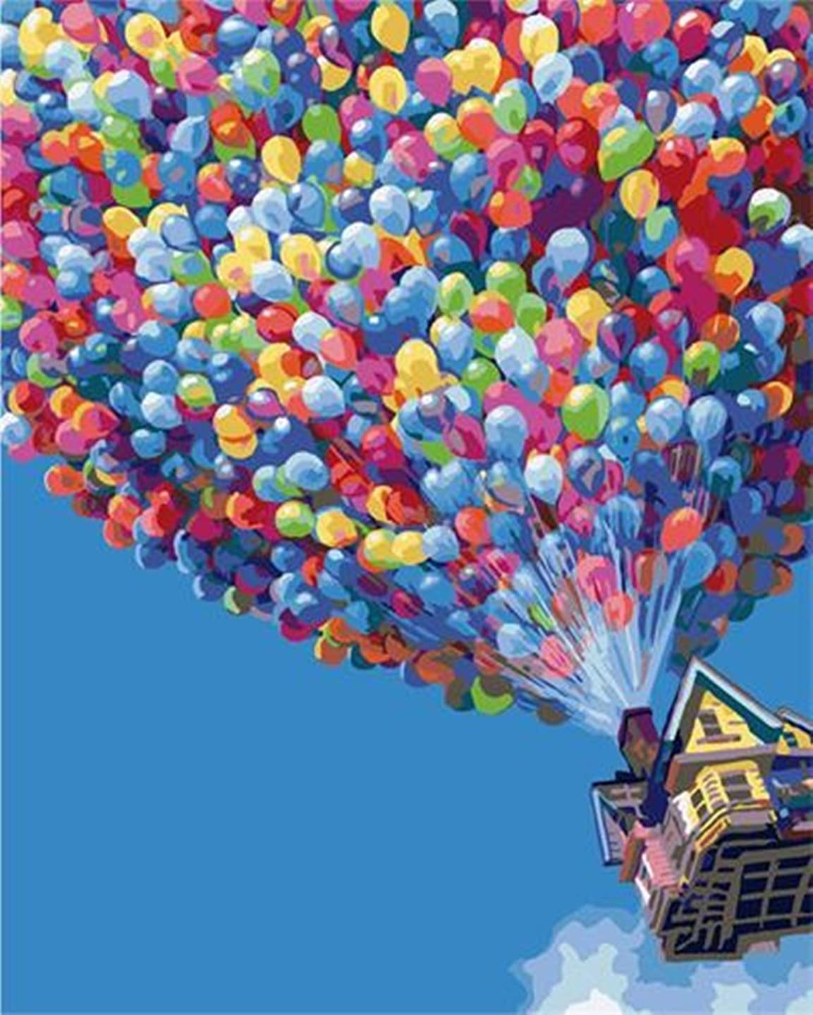 YEESAM ART Paint by Numbers for Adults Up, Hot Air Balloon, Ballons Balls 16x20 inch Linen Canvas, DIY Number Painting