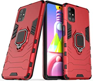 FanTing Case for Samsung Galaxy M51, Rugged and shockproof,with mobile phone holder, Cover for Samsung Galaxy M51-Red
