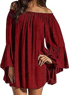Women's Sexy Off Shoulder Chiffon Lace Ruffle Sleeve Blouse Mini Dress