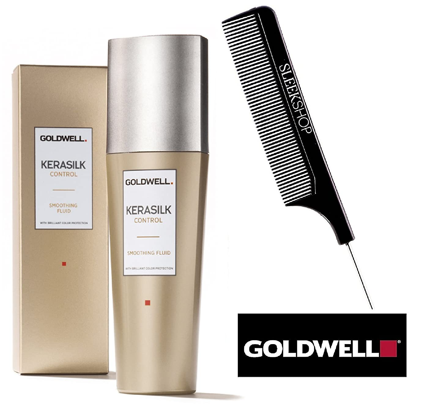 つかの間見積りおなじみのGoldwell (なめらかなスチールピンテールくし付き)鮮やかな色保護をKerasilk CONTROLスムージングフルイド 2.5オンス/ 75ミリリットル