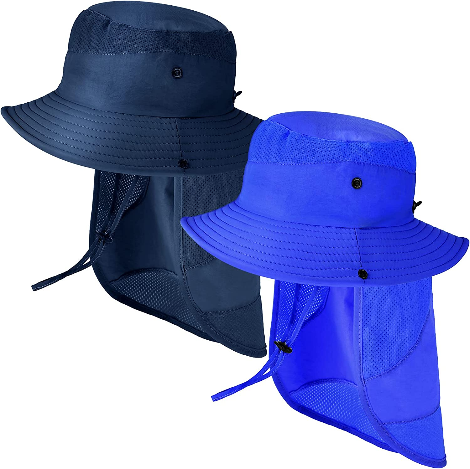 2 Pieces Sun Hat with Removable Neck Flap Beach Cap Adjustable Bucket Hat Summer Hat for Boys Girls