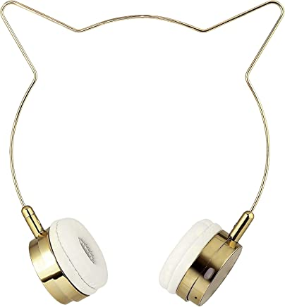 efed2b61460 Lux Accessories Rose Gold Cat Ear Headphones Wire Frame Headset w Microphone