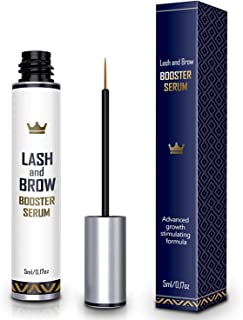 Natural Lash Growth Serum - USA-Made Eyebrow Growth Enhancer - Eyelash Booster to Grow Longer Eyelashes - Lash Boost & Brow Enhancing Serum