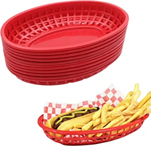 Agyvvt Plastic Oval Fast Food Baskets Fryer Basket for Party,Set of 12 (Red)