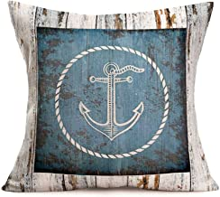 "Fukeen Pillow Cases Nautical Anchor Rustic Wooden Decorative Throw Pillow Cushion Covers Navigational Adventure Travel Theme Home Office Car Decor Cotton Linen Pillow Shams Standard 18""X18"""