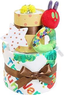 はらぺこあおむし おむつケーキ 出産祝い 名入れ刺繍 2段 オムツケーキ 女の子 男の子 男女兼用 名前入り ERIC CARLE エリックカール パンパーステープタイプSサイズ