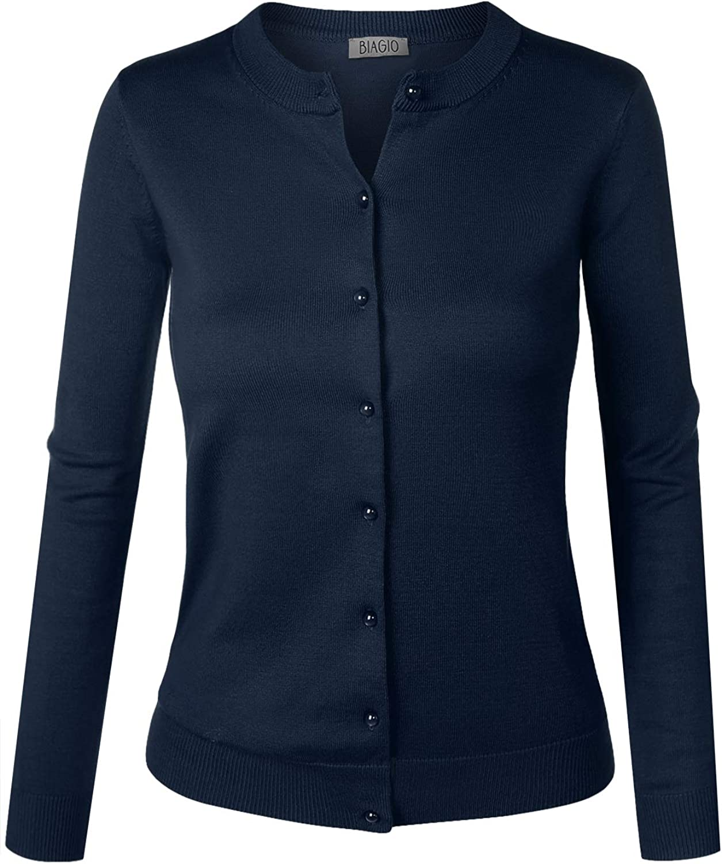 BIADANI New product Women Button Down Long Sleeve Sweat Soft V-Neck Cardigan Max 83% OFF