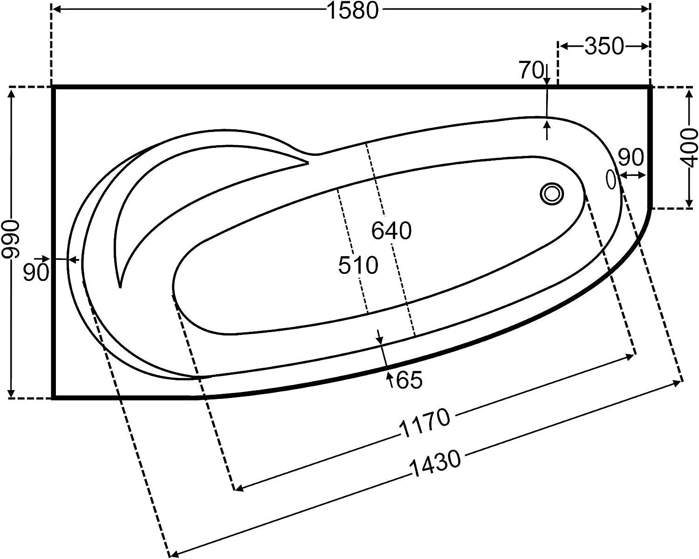 Unbekannt Raumsparbadewanne Acryl rechts, wei, 158x100cm x43cm