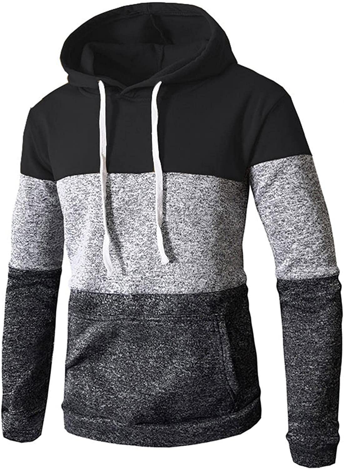 Mens Hooded Pullover Sweatershirts Novelty Patchwork Color Block Long Sleeve Hoodies Soft Cozy Sport Outwear Tops