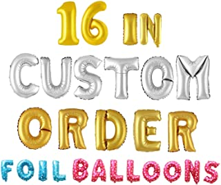"""Wubao Letter Balloons - 16"""" Inch Gold Alphabet Letters & Numbers Foil Balloon 